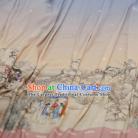 Asian Chinese Classical Printing Dream of the Red Chamber Pattern Design Pink Silk Fabric Traditional Hanfu Brocade Material