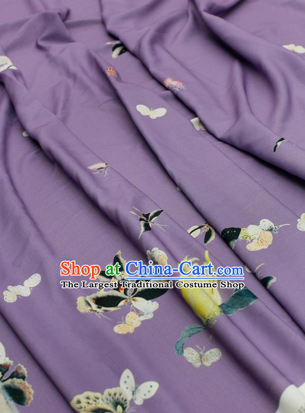 Asian Chinese Classical Printing Butterfly Pattern Design Purple Silk Fabric Traditional Hanfu Brocade Material