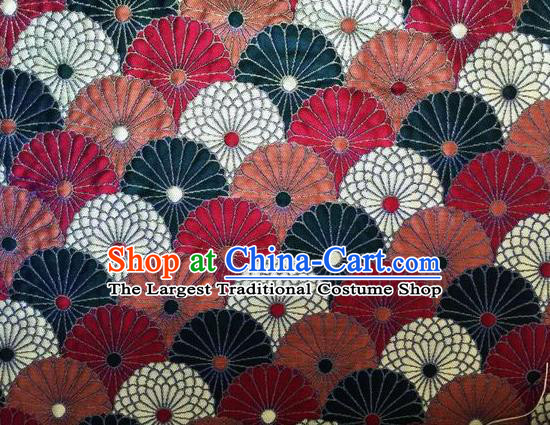 Asian Chinese Classical Chrysanthemum Pattern Design Silk Fabric Traditional Nanjing Brocade Material