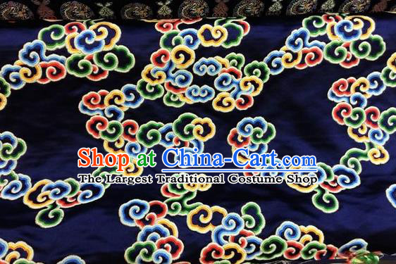 Asian Chinese Classical Auspicious Cloud Pattern Design Navy Silk Fabric Traditional Nanjing Brocade Material