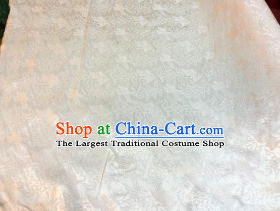 Asian Chinese Classical Cloud Cranes Pattern Design Beige Silk Fabric Traditional Nanjing Brocade Material