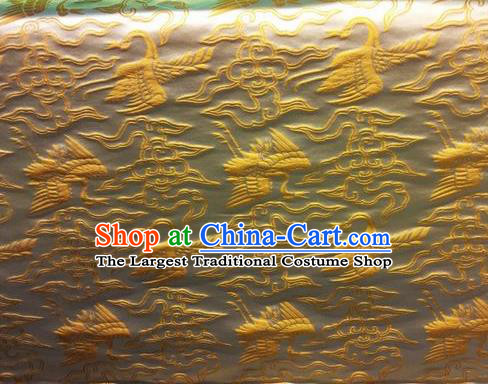 Asian Chinese Classical Cloud Golden Cranes Pattern Design Silk Fabric Traditional Nanjing Brocade Material