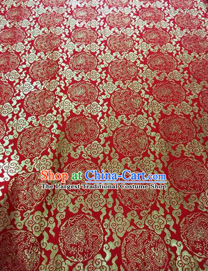 Asian Chinese Classical Cloud Dragon Pattern Design Red Silk Fabric Traditional Nanjing Brocade Material