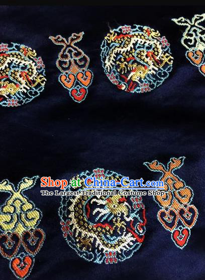 Asian Chinese Classical Auspicious Dragon Pattern Design Navy Silk Fabric Traditional Nanjing Brocade Material