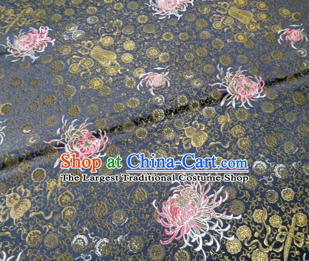 Asian Chinese Classical Chrysanthemum Pattern Design Grey Silk Fabric Traditional Nanjing Brocade Material