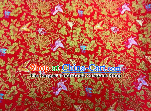 Asian Chinese Classical Butterfly Chrysanthemum Pattern Design Red Silk Fabric Traditional Nanjing Brocade Material