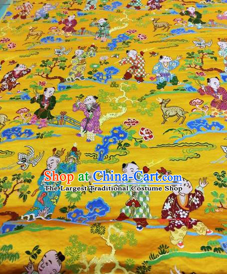 Asian Chinese Classical Children Pattern Design Golden Silk Fabric Traditional Nanjing Brocade Material