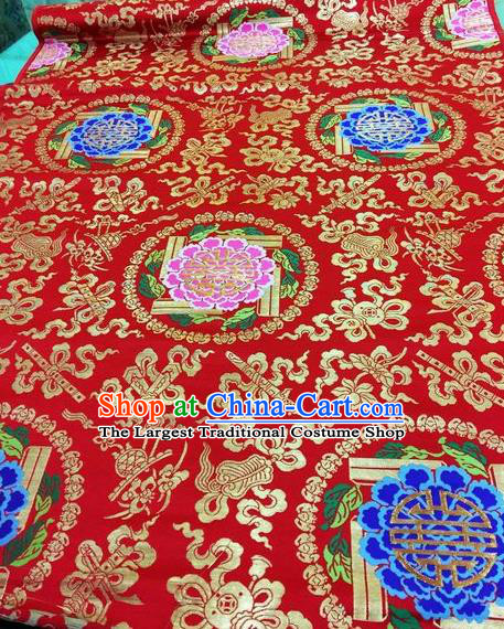 Asian Chinese Classical Peony Pattern Design Red Silk Fabric Traditional Nanjing Brocade Material