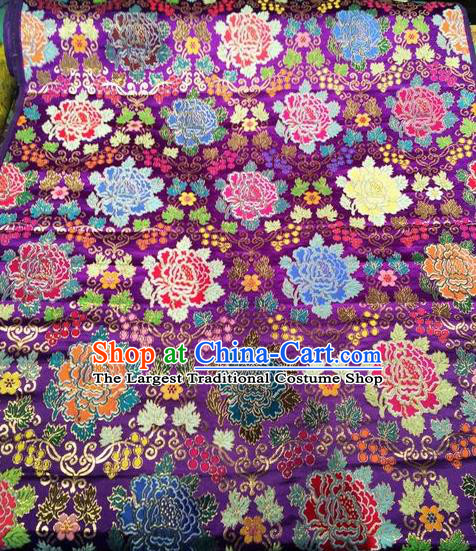 Asian Chinese Classical Peony Pattern Design Purple Silk Fabric Traditional Nanjing Brocade Material
