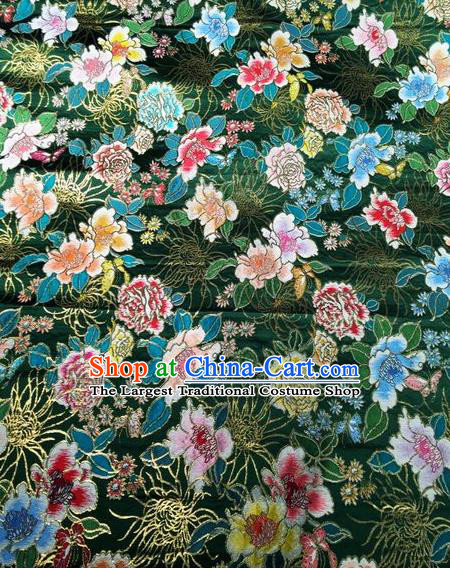 Asian Chinese Classical Peony Chrysanthemum Pattern Design Green Silk Fabric Traditional Nanjing Brocade Material
