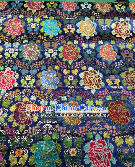 Asian Chinese Classical Peony Pattern Design Royalblue Silk Fabric Traditional Nanjing Brocade Material
