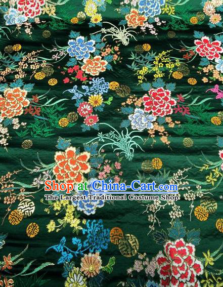 Asian Chinese Classical Peony Plum Orchid Pattern Design Green Silk Fabric Traditional Nanjing Brocade Material