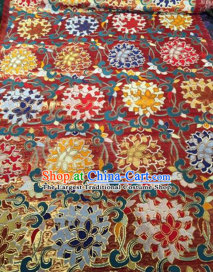 Asian Chinese Classical Lotus Pattern Design Red Silk Fabric Traditional Nanjing Brocade Material