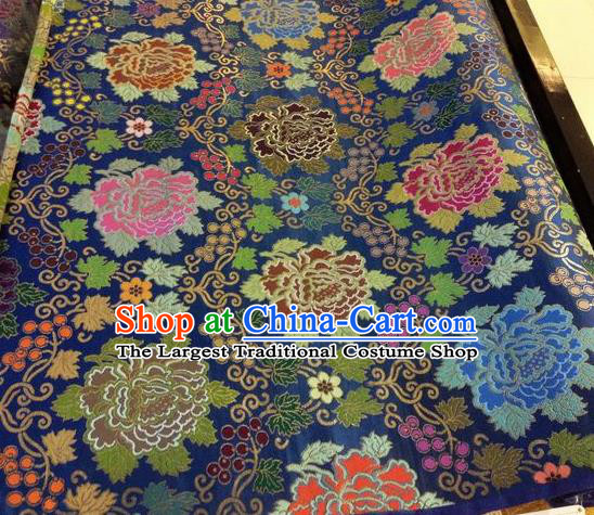 Asian Chinese Classical Peony Grape Pattern Design Navy Silk Fabric Traditional Nanjing Brocade Material