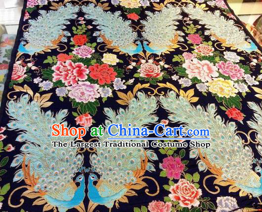Asian Chinese Classical Peacock Peony Pattern Design Black Silk Fabric Traditional Nanjing Brocade Material