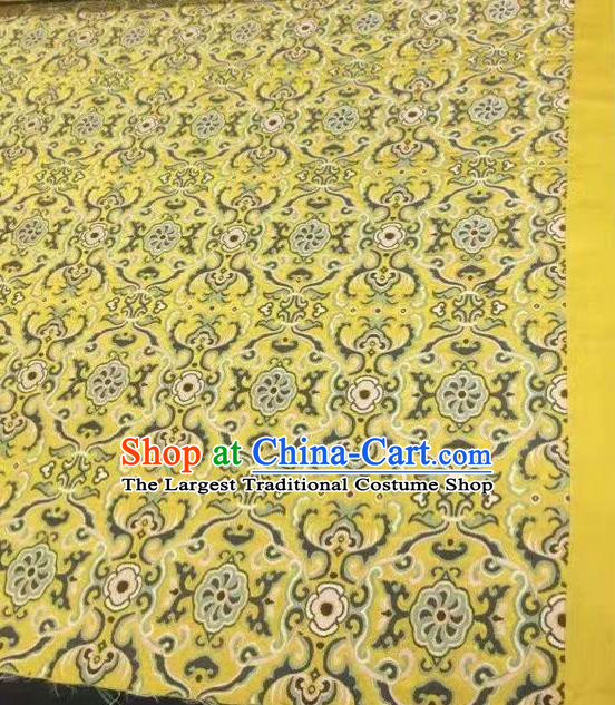 Asian Chinese Classical Pattern Design Yellow Silk Fabric Traditional Nanjing Brocade Material