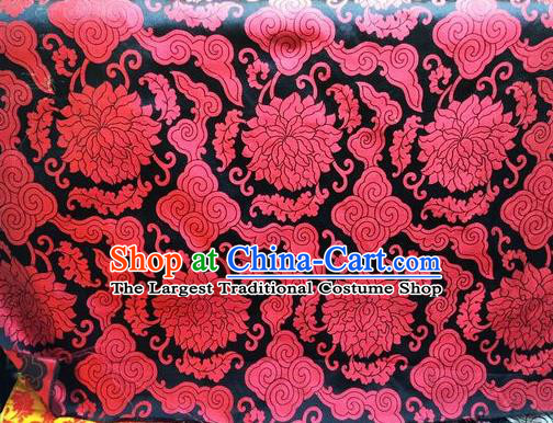 Asian Chinese Classical Cloud Lotus Pattern Design Black Silk Fabric Traditional Nanjing Brocade Material