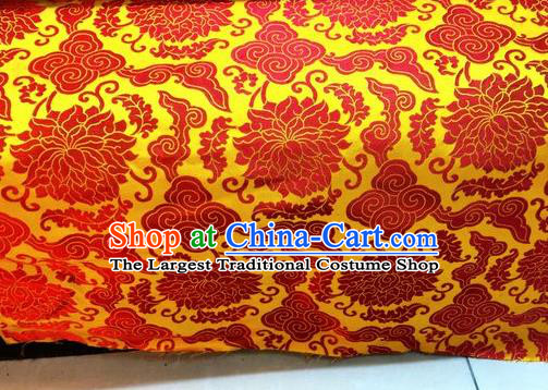 Asian Chinese Classical Cloud Lotus Pattern Design Yellow Silk Fabric Traditional Nanjing Brocade Material
