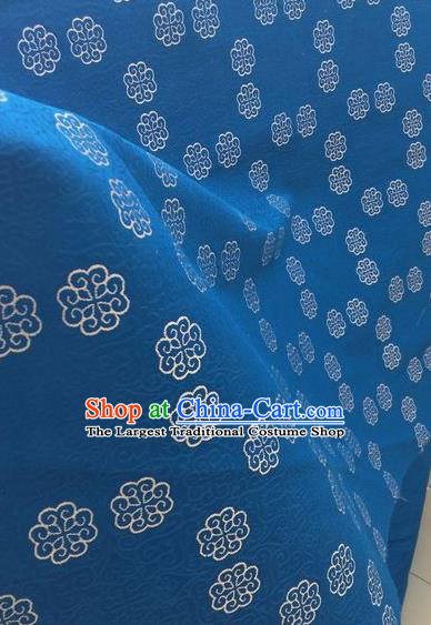 Asian Chinese Classical Pattern Design Blue Silk Fabric Traditional Nanjing Brocade Material