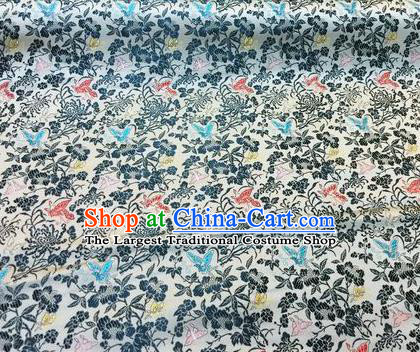 Asian Chinese Classical Butterfly Chrysanthemum Pattern Design Silk Fabric Traditional Nanjing Brocade Material