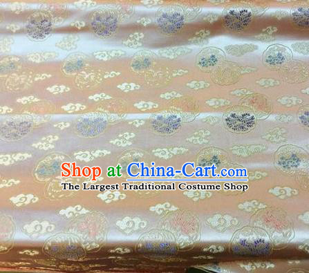 Asian Chinese Classical Cloud Pattern Design Champagne Silk Fabric Traditional Nanjing Brocade Material