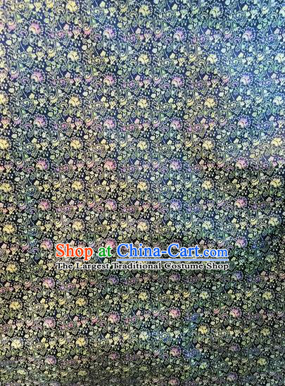 Asian Chinese Classical Cockscomb Pattern Design Navy Silk Fabric Traditional Nanjing Brocade Material