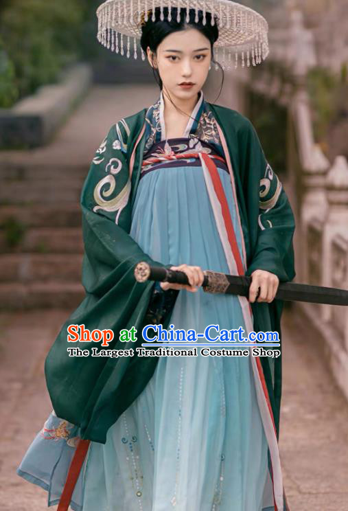 Traditional Chinese Ancient Female Swordsman Embroidered Dress Tang Dynasty Royal Princess Costumes for Women