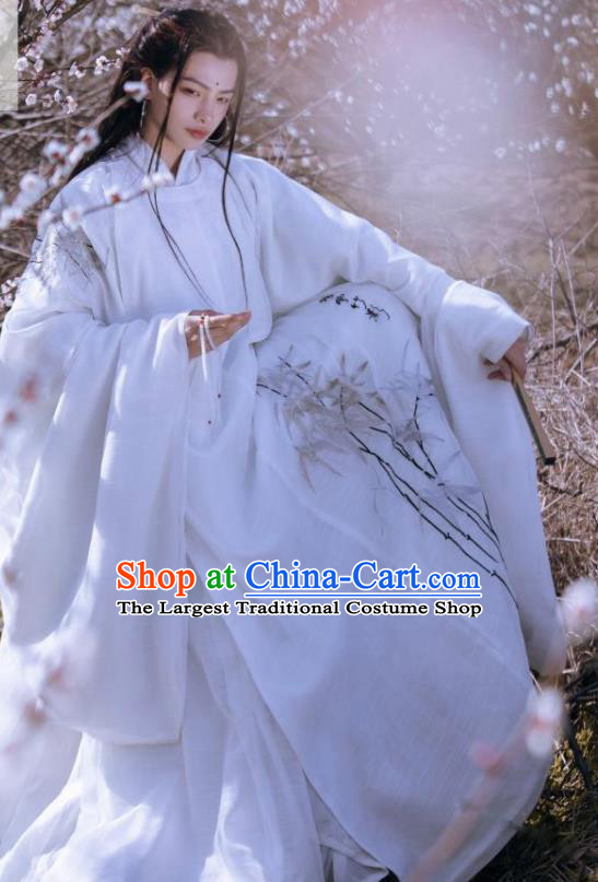 Traditional Chinese Ancient Swordsman White Clothing Ming Dynasty Royal Prince Costumes for Men