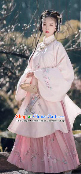 Traditional Chinese Ancient Nobility Lady Pink Embroidered Dress Ming Dynasty Palace Princess Costumes for Women
