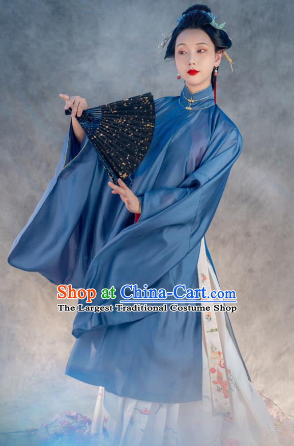 Traditional Chinese Ancient Princess Blue Embroidered Dress Ming Dynasty Taoist Nun Costumes for Women
