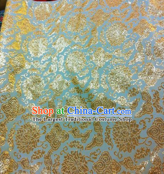 Asian Chinese Classical Lotus Pattern Design Light Blue Silk Fabric Traditional Nanjing Brocade Material