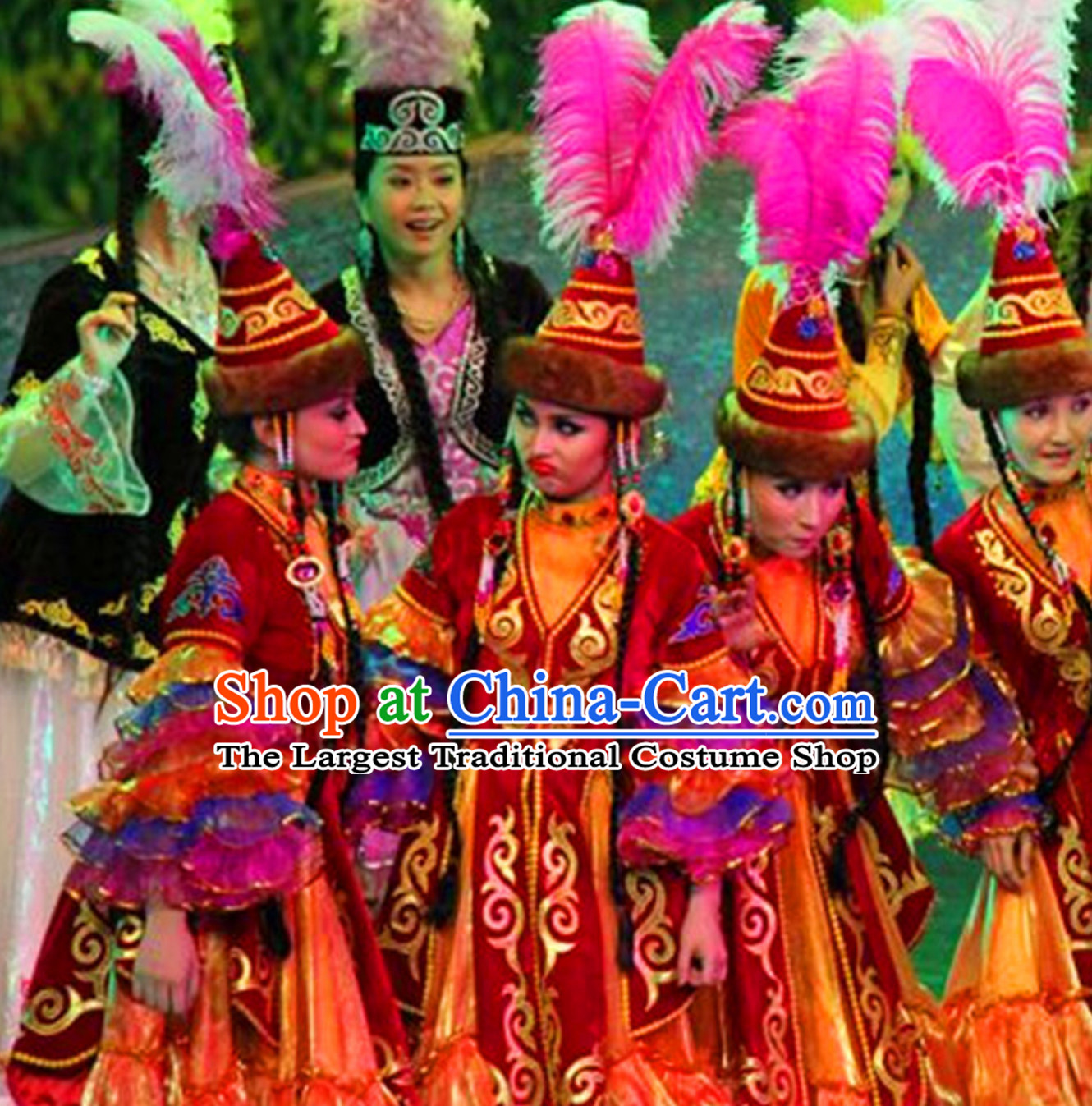 Chinese Traditional Kazakhstan Clothing Folk Dance Ethnic Dress for Women