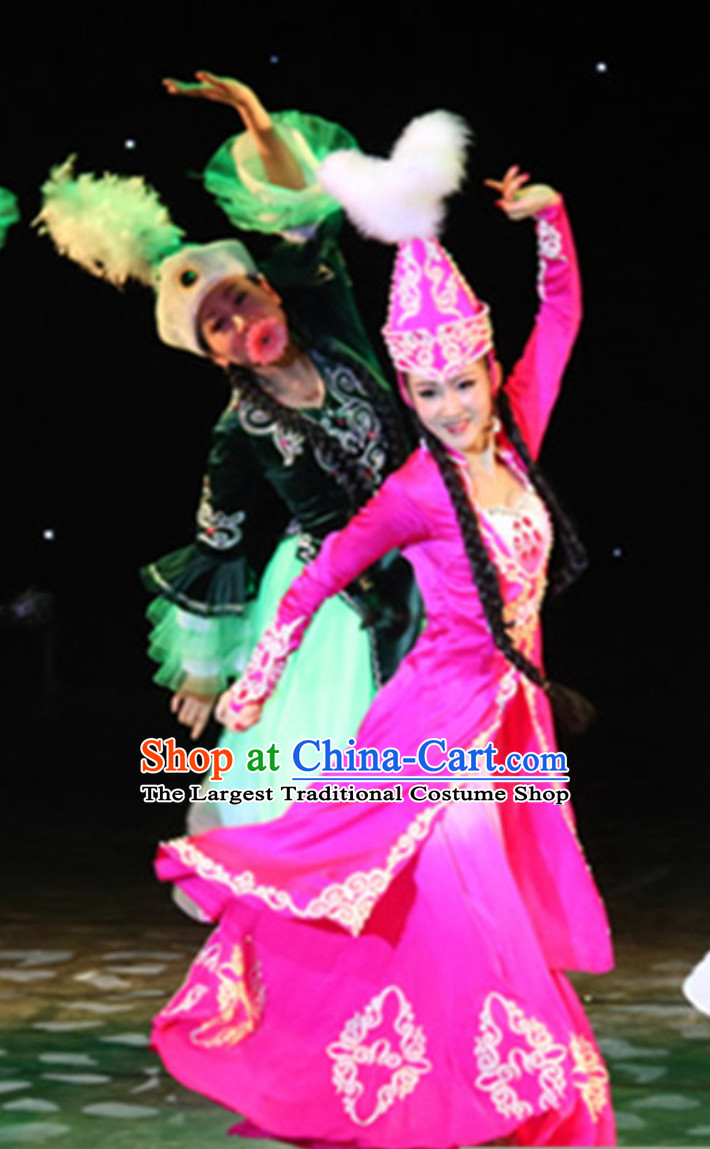 Chinese Traditional Kazakhstan Clothes Folk Dance Ethnic Dress and Hat Complete Set for Women