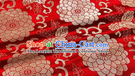 Asian Chinese Classical Lotus Pattern Design Red Brocade Fabric Traditional Silk Material