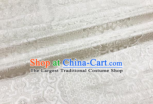 Asian Chinese Classical Rosette Pattern Design White Brocade Fabric Traditional Silk Material