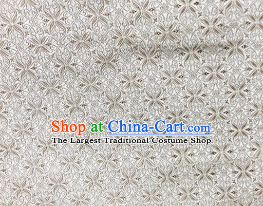 Asian Chinese Classical Pattern Design White Brocade Fabric Traditional Silk Material