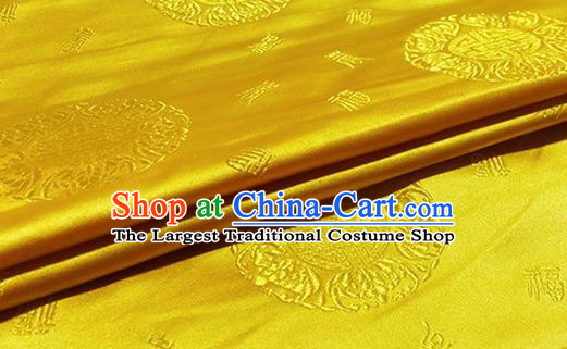 Asian Chinese Classical Fu Character Pattern Design Golden Brocade Fabric Traditional Silk Material
