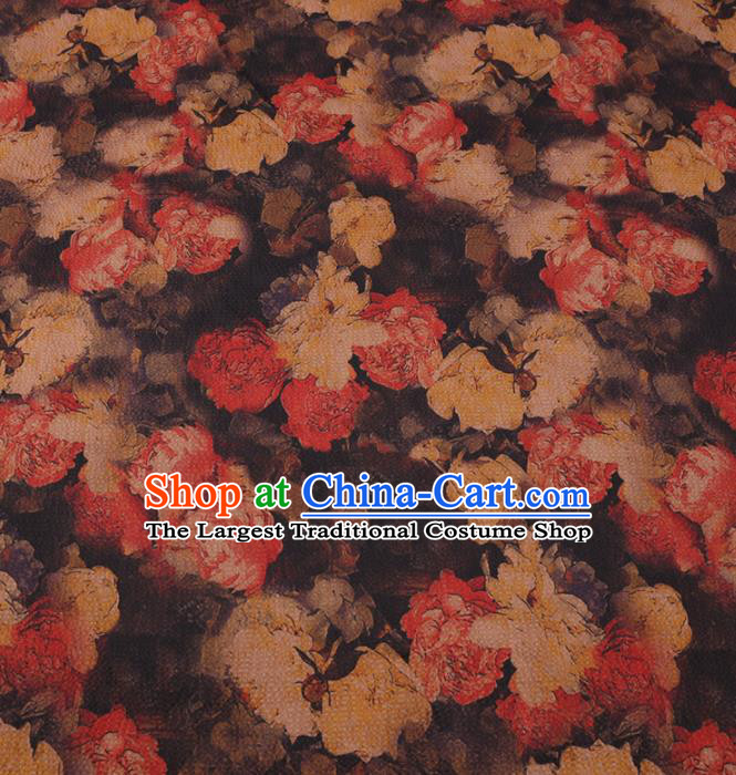 Asian Chinese Classical Roses Pattern Design Brown Watered Gauze Fabric Traditional Silk Material
