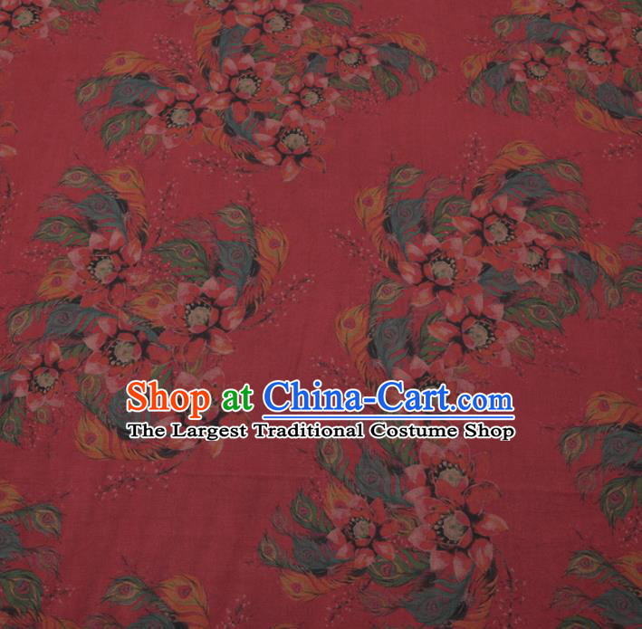 Asian Chinese Classical Ombre Flowers Pattern Design Wine Red Watered Gauze Fabric Traditional Silk Material