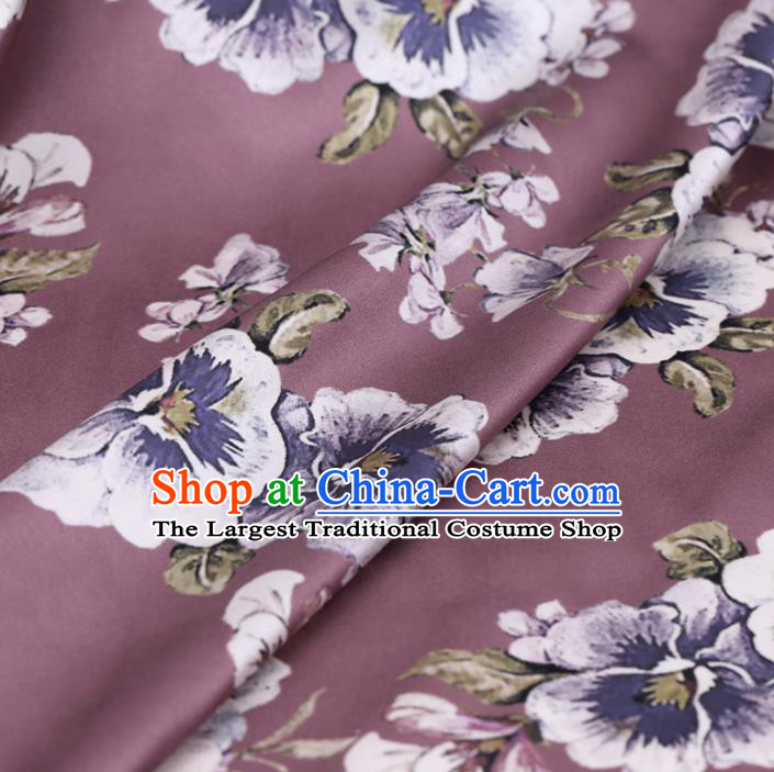 Asian Chinese Classical Flowers Pattern Design Light Purple Watered Gauze Fabric Traditional Silk Material