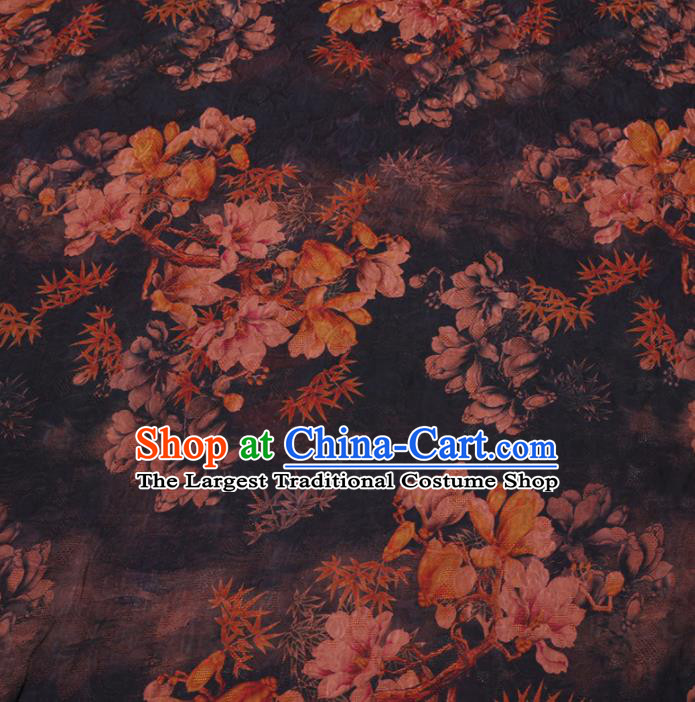 Asian Chinese Classical Magnolia Maple Leaf Pattern Design Navy Watered Gauze Fabric Traditional Silk Material