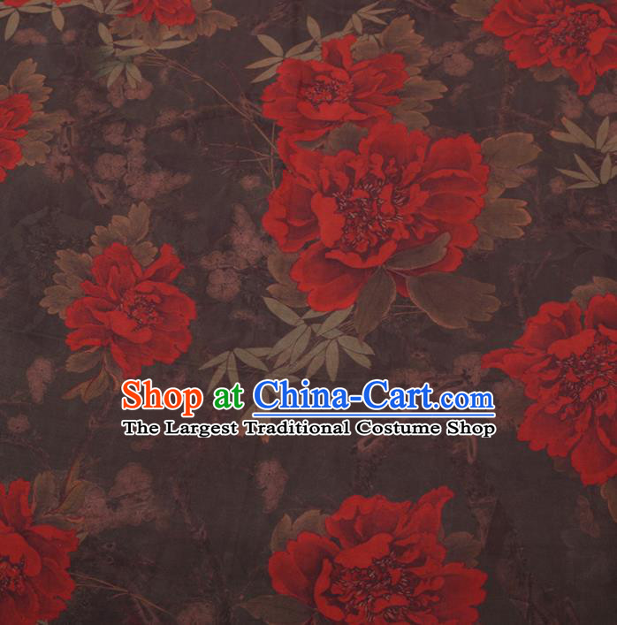 Chinese Cheongsam Classical Peony Pattern Design Brown Watered Gauze Fabric Asian Traditional Silk Material