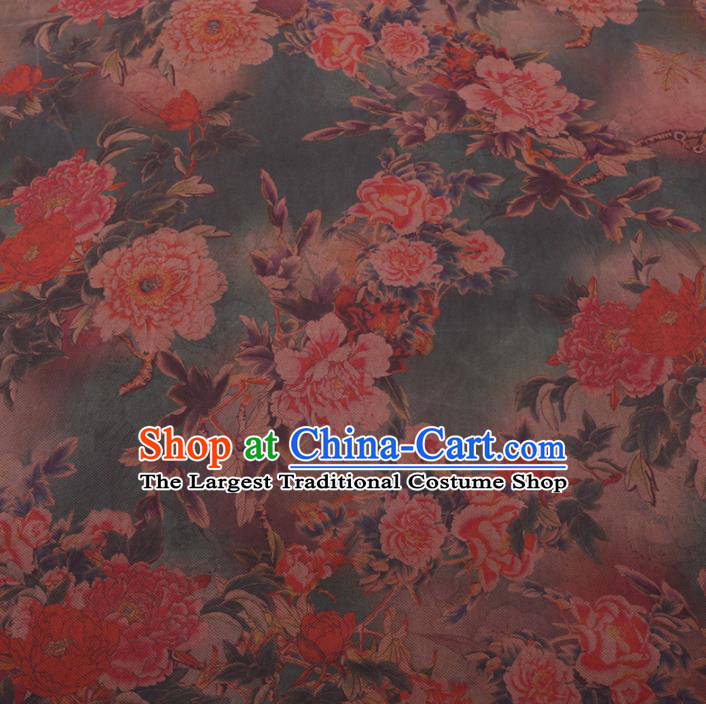 Chinese Cheongsam Classical Peony Pattern Design Green Watered Gauze Fabric Asian Traditional Silk Material