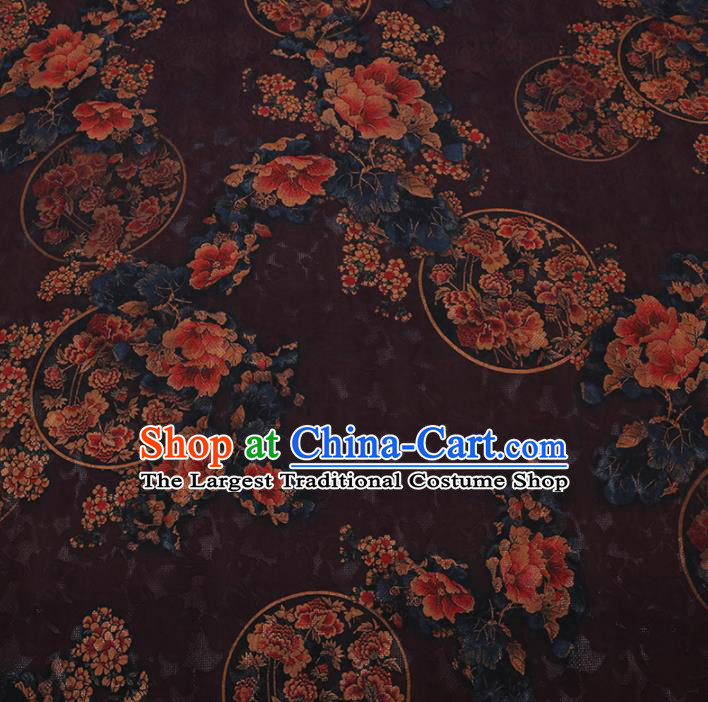 Chinese Cheongsam Classical Round Peony Pattern Design Purple Watered Gauze Fabric Asian Traditional Silk Material