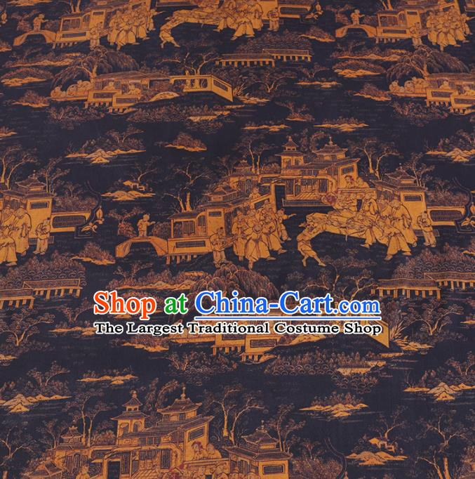 Chinese Cheongsam Classical Folklore Pattern Design Black Watered Gauze Fabric Asian Traditional Silk Material