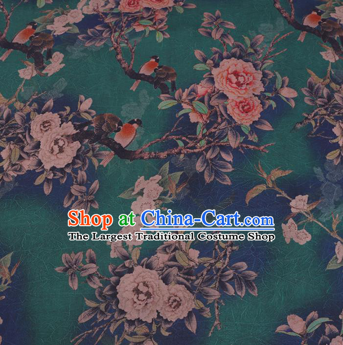 Chinese Cheongsam Classical Peony Bird Pattern Design Green Watered Gauze Fabric Asian Traditional Silk Material