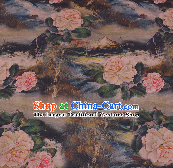 Chinese Cheongsam Classical Peony Pattern Design Watered Gauze Fabric Asian Traditional Silk Material