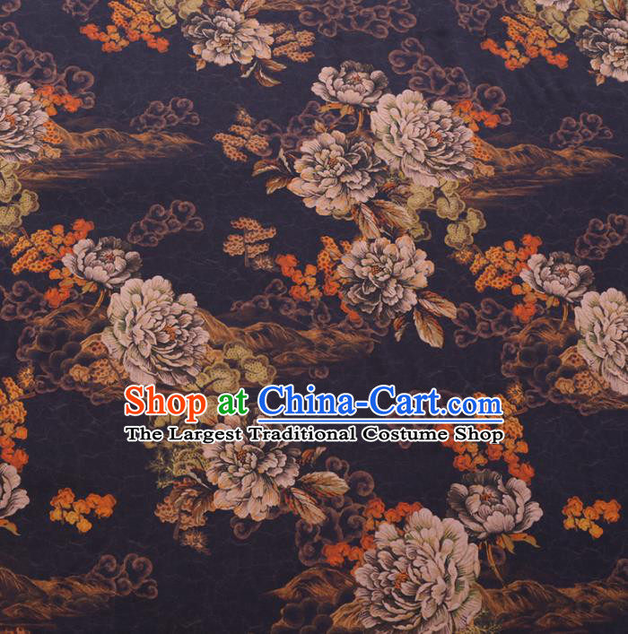 Chinese Cheongsam Classical Cloud Peony Pattern Design Black Watered Gauze Fabric Asian Traditional Silk Material