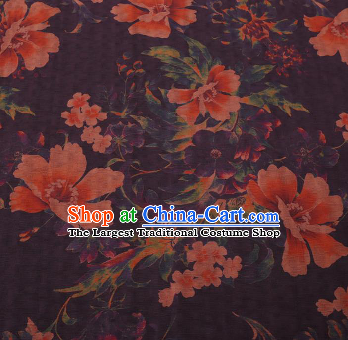 Chinese Cheongsam Classical Flowers Pattern Design Purple Watered Gauze Fabric Asian Traditional Silk Material