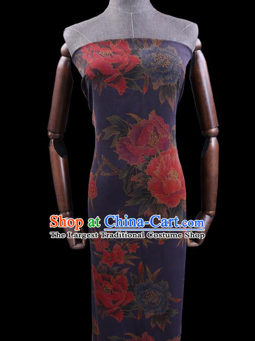 Chinese Cheongsam Classical Peony Plum Pattern Design Deep Blue Watered Gauze Fabric Asian Traditional Silk Material